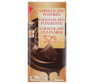 Auchan Chocolate negro 52% cacao especial postres 200 gr