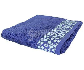 Actuel Toalla de lavabo 100% algodón color azul con cenefa jacquard diseño Flores, densidad de 450 g/m² 1 unidad