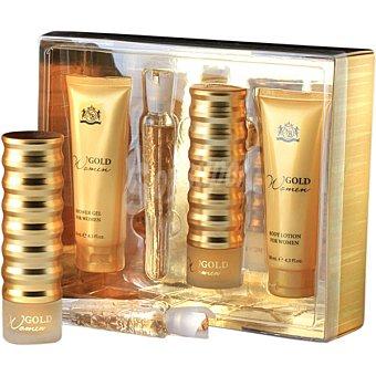 NEW BRAND Gold eau de parfum + body lotion tubo 130 ml + shower gel tubo 130 ml + eau de parfum 20 ml spray 100 ml