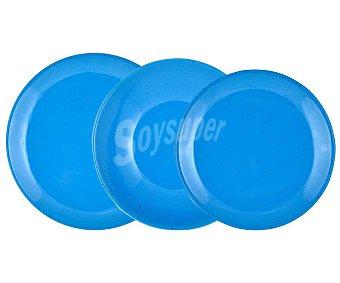 Irabia Vajilla completa de 18 piezas redondas fabricadas en loza de color azul con puntitos, irabia.