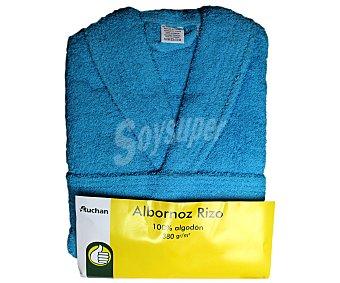 AUCHAN Albornoz 100% algodón rizo, 380 gramos/m², color turquesa, talla mediana 1 Unidad