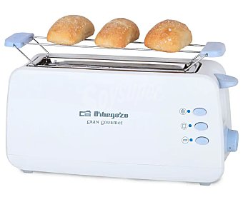 Orbegozo Tostador TO-4012, 1 ranura larga, termostato, desconexión automática, calienta panecillos, bandeja recogemigas, 800W
