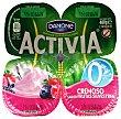 Yogur cremoso 0% materia grasa sabor frutas silvestres pack 4 unidades 120 g Activia Danone