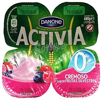 DANONE ACTIVIA Yogur cremoso 0% materia grasa sabor frutas silvestres pack 4 unidades 120 g