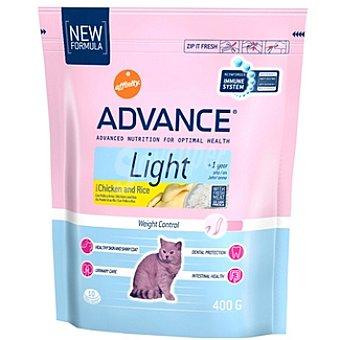 Advance Affinity Alimento de alta gama para gatos con sobrepeso con fibra rico en pollo y arroz Light Bolsa 400 g