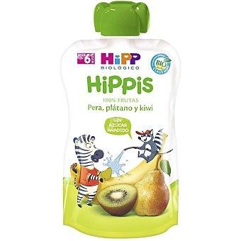 HiPP Biológico Hippis 100% frutas pera, plátano y kiwi ecológico, sin gluten y sin azúcar añadido desde 6 meses Bolsita 100 g