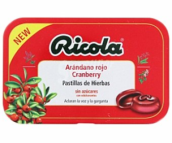 Ricola Pastillas de hierbas ,sin azúcar, sabor a arándano rojo ( aclaran la voz y la garganta) 60 Gramos
