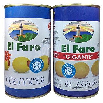 El Faro Aceitunas rellenas de anchoa + aceitunas rellenas de pimiento pack...