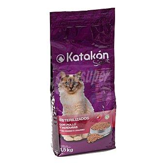 Katakán Pienso para gatos adultos esterilizados con pollo y verduras Bolsa 1.5 kg