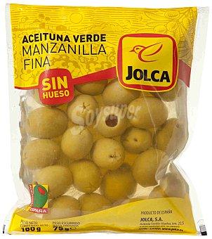 Jolca Aceitunas manzanilla sin hueso Bolsa 180 g / 75 g escurrido