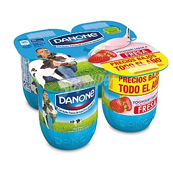 DANONE Yogur sabor fresa pack 4 unidades 125 g