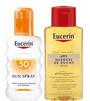 Eucerin Spray solar FPS 50 + Regalo de Oleogel de ducha 200 ml. 200 ml