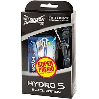 Wilkinson Pack Hydro 5 Black Edition con maquinilla de afeitar + recambio 4 unidades