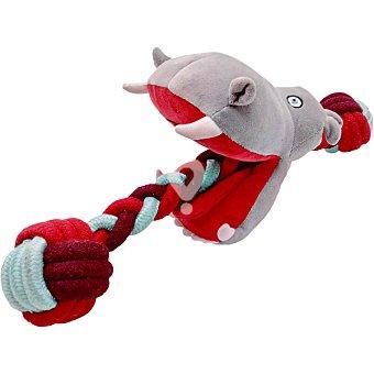 Juguete para perro modelo hipopótamo con cuerda 44x11x15 cm