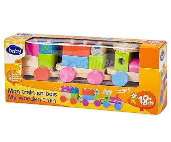 Tren Juguete 2 en 1, más bloques de construcción de madera de colores baby