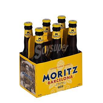 Moritz Cerveza rubia 6 botellines de 33 centilítros