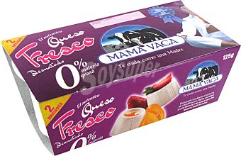 Mama Vaca Queso Fresco Suave 0% Grasas Tarrina pack 2 x 62,5 gr