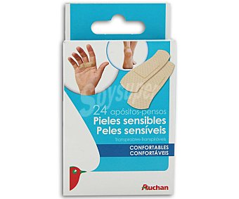 Auchan Apósito extensible para pieles sensibles (tres tamaños) 24 unidades