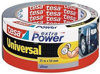 Tesa Cinta americana extra power, de color plata 25 metros x 48 milimetros