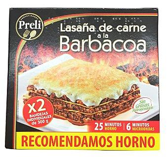 PRELI Lasaña de carne a la barbacoa congelada (recomendamos hacer al horno) 2 unidades de 300 g