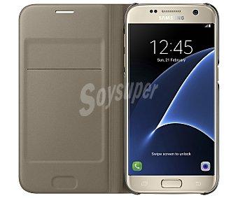 Samsung Funda con tapa SAMSUNG Flip Wallet, dorada, compatible con Galaxy S7