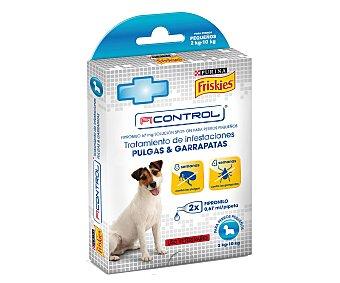 FRISKIES FICONTROL Pipetas con friponilo para tratamiento de infestaciones contra pulgas y garrapatas para perros pequeños 2 unidades de 0,67 mililitros