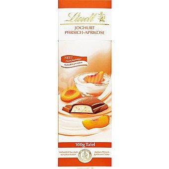 LINDT chocolate con leche relleno de batido de yogur con melocotón tableta 100 g