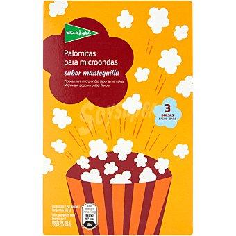 El Corte Inglés Palomitas para microondas sabor a mantequilla Pack 3 bolsas 100 g