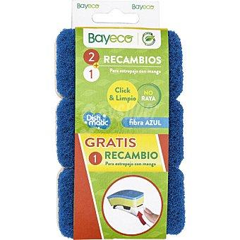 Bayeco Recambio para estropajo fibra azul con mango  envase 2 unidades