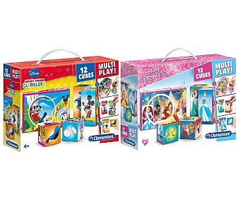 Clementoni Puzzle de cubos Multiplay variados Disney, clementoni 12 uds.