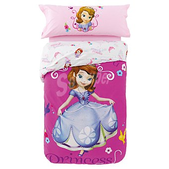 DISNEY Funda Nórdica infantil de Pricesa Sofia en tonos malvas para cama 90 cm