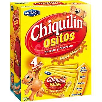 CHIQUILÍN Ositos de galleta con miel paquete 160 g Pack 4 bolsas