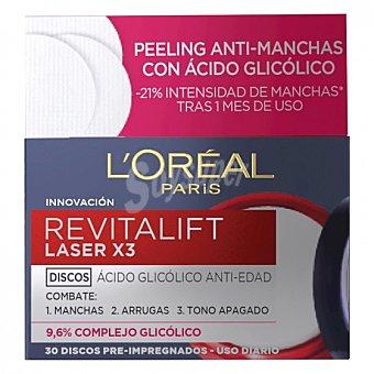L'ORÉAL REVITALIFT Discos ácido glicólico anti-edad Laser X3 30 discos 30 Discos