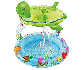INTEX Piscina hinchable infantil con sombrilla o parasol en forma de tortuga y recomendada para niños de + 1 año