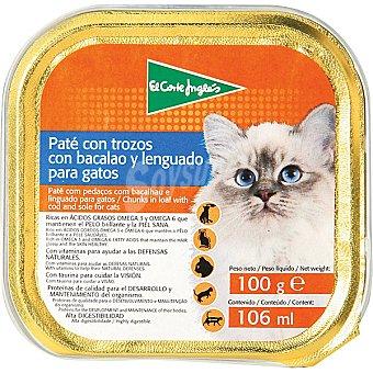 El Corte Inglés Paté con trozos con bacalao y lenguado para gato Tarrina 100 g