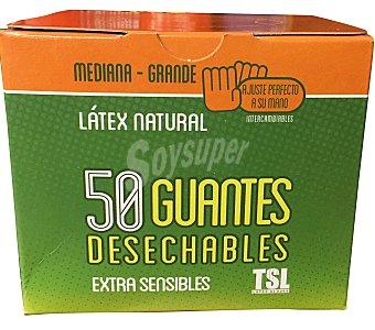 Rubberex Guantes desechables latex talla mediana / grande Caja de 50 unidades