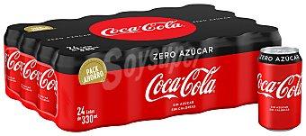 Coca-Cola Zero Refresco de cola zero sin azúcar Pack 24 latas x 33 cl