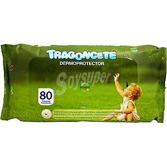 TRAGONCETE Toallitas húmedas dermoprotectoras con aloe vera y camomila hidratantes y extra suaves Envase 80 unidades