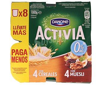 Activia Danone Yogur con bífidus 0% materia grasa 4 con cereales y 4 con muesli 8 unidades de 125 gramos
