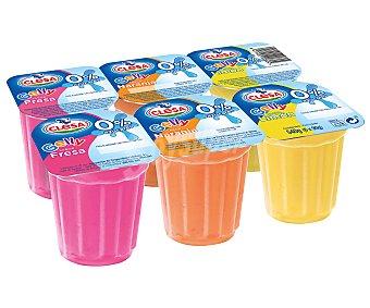 Clesa Gelatina de varios sabores (2 limón, 2 naranja y 2 fresa), 0% azúcares 6 x 90 g