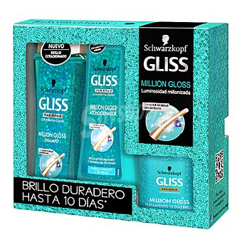 Gliss Kit 10 días brillo Million Gloss con champú 250 ml + acondicionador 200 ml + tratamiento 150 ml 1 ud