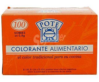 Pote Colorante alimentario en sobres 100 unidades de 0,8 gramos