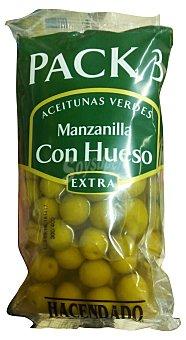 Hacendado Aceituna manzanilla con hueso 3 paquetes x 190 g