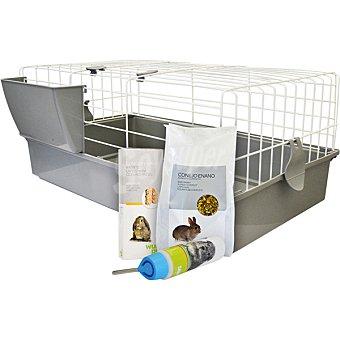 Wuapu Kit de jaula + bebedero + alimento + barritas para conejos 1 unidad 1 unidad