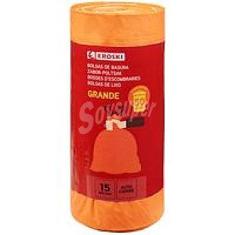 Eroski Bolsa de basura con cierre 50 L Paquete 15 unid