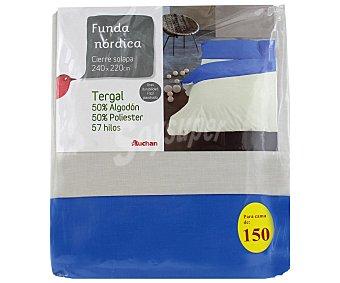 Auchan Funda para edredón nórdico de 150 centímetros, color tierra 1 Unidad