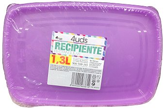 Bosque Verde Recipiente plastico multiusos rectangular 1,3 l Paquete 4 u