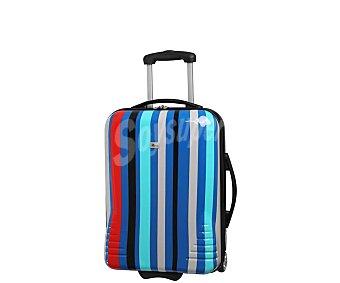 Itluggage Maleta mediana de material rigido con diseño de rayas multicolores, 2 ruedas, itluggage