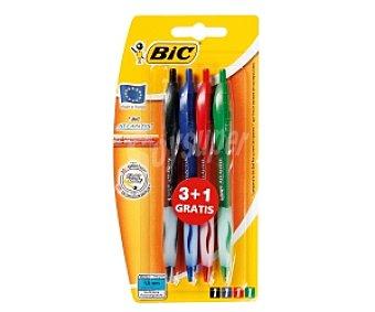 Bic Lote de 4 bolígrafos retráctiles del tipo roller, de grip suave, punta media con grosor de escritura de 1 milímetro y tinta líquida azul, negra, roja y verde 1 unidad