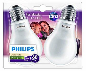 Philips Bombillas led esféricas 7 Watios, con casquillos E27 (gruesos) y luz cálida 2 unidades